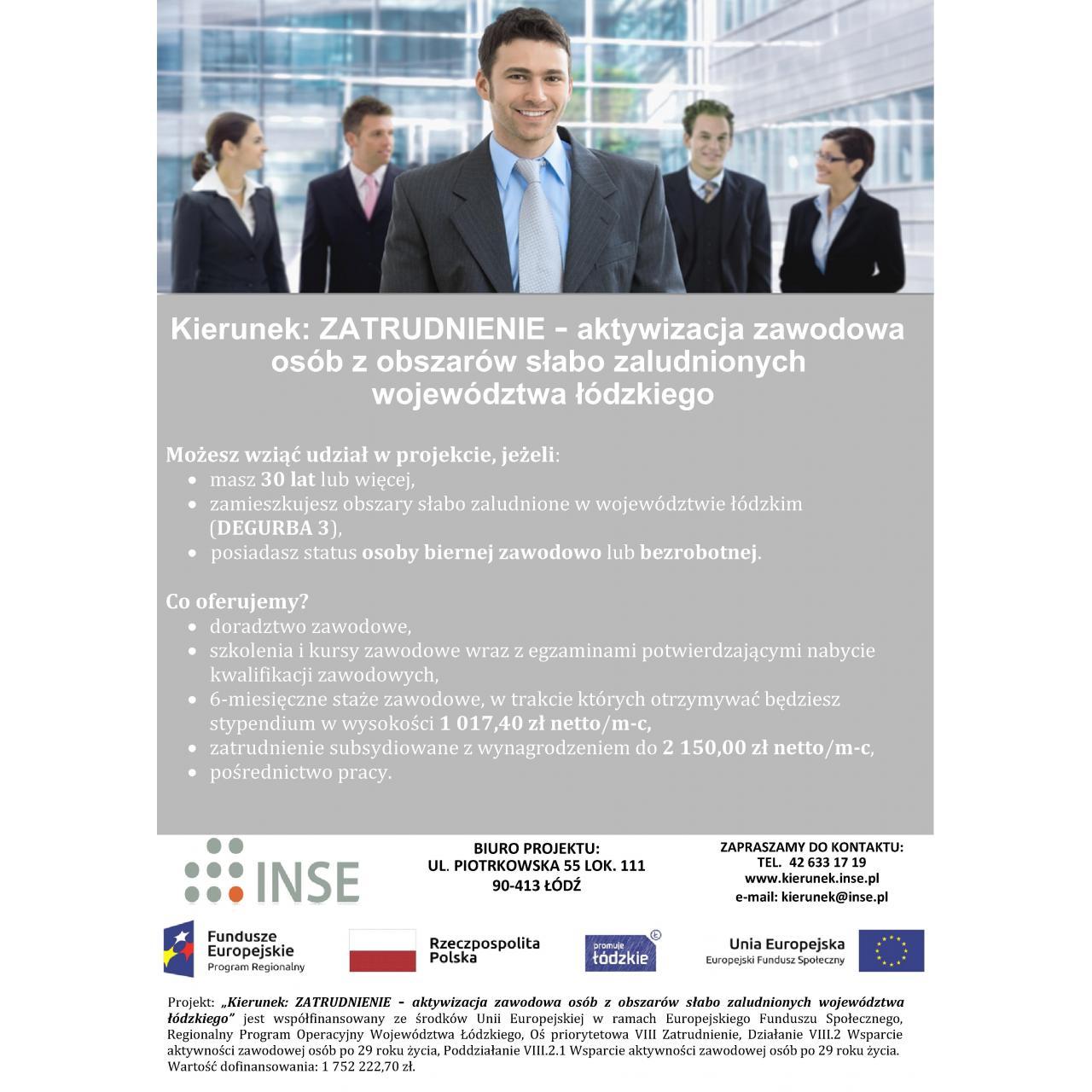 Kierunek Zatrudnienie - aktywizacja zawodowa ( projekt EFS)